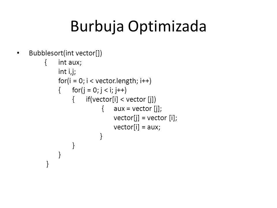 Burbuja Optimizada Bubblesort(int vector[]) { int aux; int i,j;